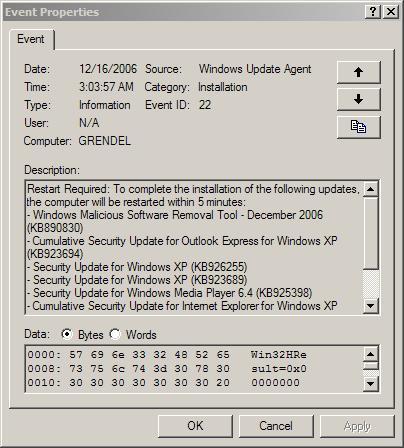 Windows Update Forced Reboot