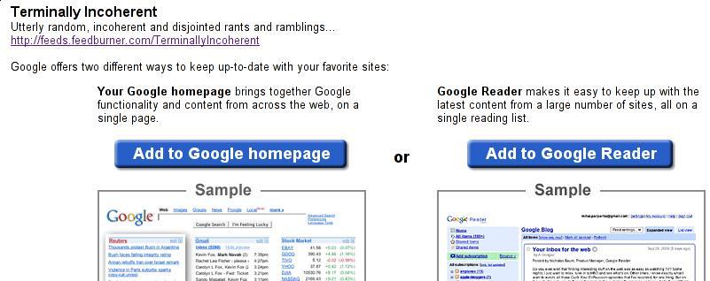 Subscribing via Google Reader