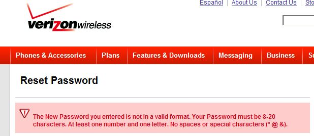 Verizon Passwords