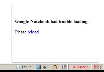 Google Notebook had trouble loading.