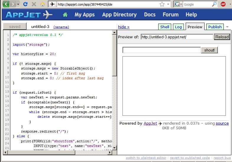 AppJet IDE