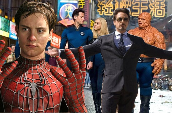 Peter Parker, Tony Stark and the Fantastic Four badly photoshopped together.