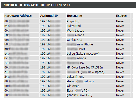DHCP Client List on my Router