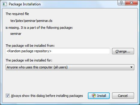 LaTeX package installer on windows