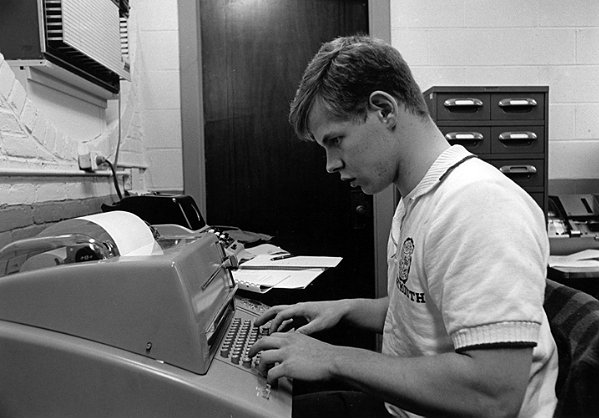 A dude using a teletype