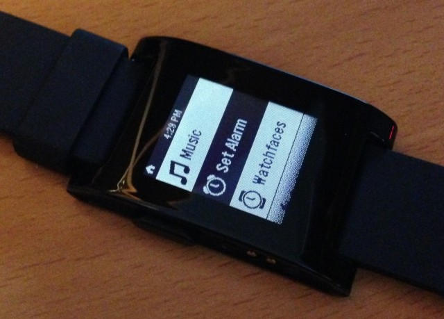 Pebble Menu Screen
